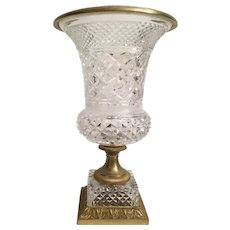 """Mid 20th Century French Crystal and Gilt Vase ~ A Giant 8 ½"""" Pound of  """"PURE BEAUTY""""  ~ Crystal Vase Resting on a Ornate Bronze and Crystal Base."""