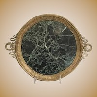 Exquisite 19C French Double Handle Footed Marble Plateau Tray ~ Lovely Green Marble with Double Wreath and Ribbon Handles. Vanity or Small Collection of Your Treasures