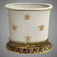 Vintage Estate Stylebuilt  Porcelain Cigarette Card Holder ~  Lovely Gilt Brass Base