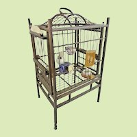 Antique Chinese Ornate Bird Cage ~ Filled with Four Ornate Porcelain Feeders/ Waters-ITIS A GEM!