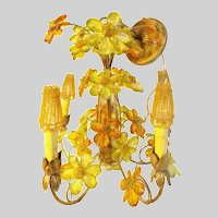 Exquisite Czechoslovakian Five Light Jeweled Flower Chandelier
