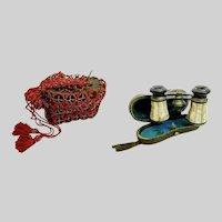 "Antique French Paris' ""La Ville"" Mother of Pearl Opera Glasses ~ Original Case &  Old Red Purse"