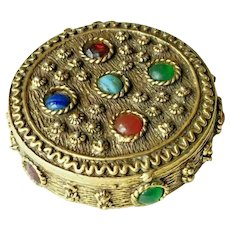 Vintage Jeweled Compact w Solid Perfume ~ Wear as a Pendant