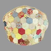 Antique Crazy Quilt Tea Cozy. A Smaller Size Tea Cozy with a Heavy Separate Lining. DELIGHTFUL!