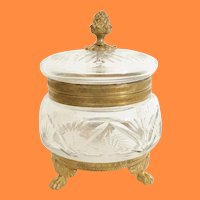 Fabulous Cut Crystal Hinged Footed Casket Hinged …Awesome Finial, Ornate Mounts and Foot Base  ~ EXCELLENT QUALITY