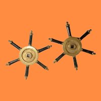 Antique Matched Pair Bronze Ship Wheels with Six Sided Gutta Percha Grips ~AMAZING and RARE