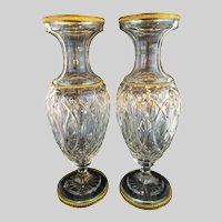 """PAIR  12 ½"""" Antique French Crystal Dore Bronze Mounts Vases - The are Exquisite"""