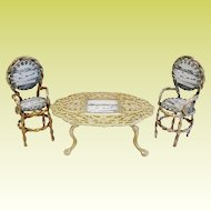 """Grand Tour Spa """"GT. Yarmouth"""" Souvenir Miniature Table and Two Chairs"""