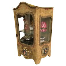 Antique Miniature Vitrine w Micro Mosaics Plaques ~ Beautiful Silk Fabric and Velvet Top wOriginal Curved Glass  Door and Side Lights ~ Two Interior Shelves to Hold Your Tiny Precious Treasures