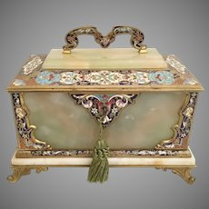 Antique French Bronze Champlevé Green Onyx  Casket Hinged Box ~ Beautiful Velvet Interior W Key ~ Glorious ~ Absolutely Divine