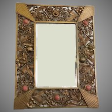 Magnificent French Jeweled Bronze Mirror