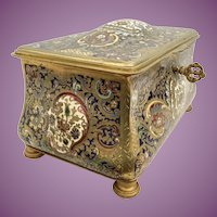 "Magnificent 8"" Antique France Dome Top Bronze Champlevé Casket Hinged Box  ~ A Champlevé MASTERPIECE"