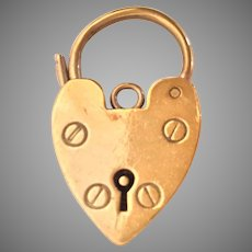 #2   Antique English 9KARAT Yellow Gold Heart Lock