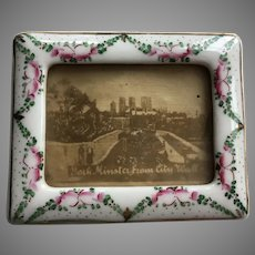 "Antique Hand Painted Porcelain Frames ~ Lovely Table Top Porcelain Frames ~ Ready for Your 2 ¼"" x  1 ½"" Prized Pictures~ A PAIR"