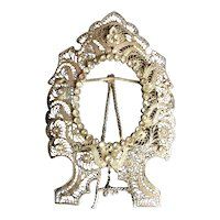 Rare and Beautiful Antique  Jeweled Silver  Frame ~ Lovely Table Top Silver Frame