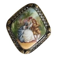 Vintage Estate Czechoslovakia Porcelain Pastoral Broach is a Gilt Frame