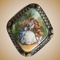 Vintage Estate Czechoslovakia Porcelain Pastoral Broach is a Gilt Frame