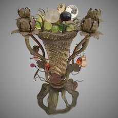 RARE and Stunning  French Glass Fruit Basket Lamp ~ WONDERFUL Czech Style Lamp ~ STAMPED: MADE IN FRANCE