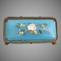 1860 French Jeweled French kiln-fired Enamel Casket Hinged Box ~ Awesome Blue Enamel w Luscious White Flowers  ~  Elegant Bronze Feet