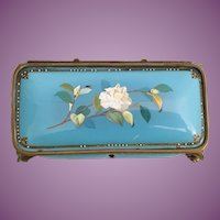 1860 French Jeweled French kiln-fired Enamel Casket Hinged Box ~ Awesome Blue Enamel w Luscious White Flowers  ~  Elegant Bronze Feet
