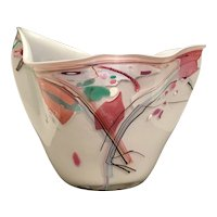 1989 Art Glass Vase ~ White with Luscious Pastel Colors ~  Gorgeous Free Form Shape ~ Signed & Dated