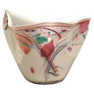Outstanding Very Beautiful 1989 Art Glass Vase ~ White with Luscious Pastel Colors ~  Gorgeous Free Form Shape ~ Signed & Dated