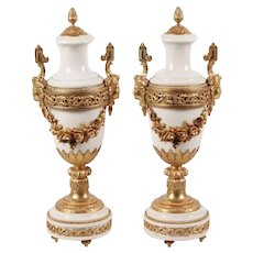 "Grandest 21"" Antique French Ormolu Mounted White Marble Urns…Gorgeous Ornate Dore' Bronze Mounts."