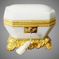 Exquisite Antique Baccarat White Opaline Casket ~ Magnificent White Opaline ~ The Most Wonderful Dore' Bronze Base and Mounts