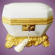 Exquisite Antique Baccarat White Opaline Casket ~ Magnificent White Opaline ~ The Most Wonderful Dore' Bronze Base and Mounts