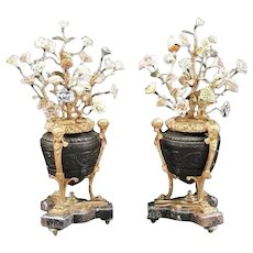 EXQUISITE Louis XVI Style Patinated Bronze Porcelain Urns ~ Magnificent Urns with Polychrome Porcelain Flowers
