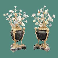 Louis XVI Style Patinated Bronze Porcelain Urns ~  Magnificent Polychrome Porcelain Flowers