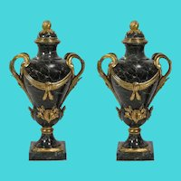 "26"" 19C French Bronze Marble Urns  ~ Majestic Dark Green Veined Marble,  Lids with Ormolu Flower Bud, Ormolu Scrolling Leaf and Cattail Handles"