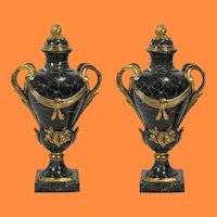"""26"""" 19C French Bronze Marble Urns  ~ Majestic Dark Green Veined Marble,  Lids with Ormolu Flower Bud, Ormolu Scrolling Leaf and Cattail Handles"""
