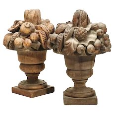 "Antique 23"" Massive and Amazing  Carved Wood Fruit Urns ~ Overflowing with Spilling Fruit ~ PAIR"