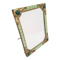"""Antique Jeweled Enamel Table Top Frame """"Gorgeous and Rare"""""""