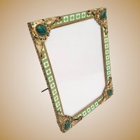 "Antique Jeweled Enamel Table Top Frame ""Gorgeous and Rare"""