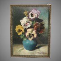 Wonderful 1942 Pastel Pansies in a Blue Vase by M Bennet Brown  ~ Framed by Vose Galleries of Boston