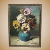 Wonderful 1942 Pastel Pansies in a Blue Vase by M Bennet Brown  ~ Framed by Vose Galleries of Boston