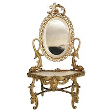 Exquisite Antique French Miniature Bronze Onyx Dresser Vanity ~ Twin Dolphins and Original Beveled Mirror ~ Superior Quality ~ A Very SPECIAL Doll Treasure