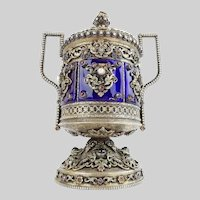 Antique Jeweled Enamel Covered Silver Double Handle Urn ~ Dripping in Precious Fresh Water Pearls, Garnets. Emerald and Jade ~ Six Enamel Jeweled Plaques Circle the Urn ~ MAGNIFICENT Three Pound & 6 Ounce of Silver