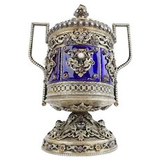 Exquisite 19C Jeweled Enamel Covered Silver Double Handle Urn ~ Dripping in Precious Fresh Water Pearls, Garnets. Emerald and Jade ~ Six Enamel Jeweled Plaques Circle the Urn ~ MAGNIFICENT Three Pound & 6 Ounce of Silver