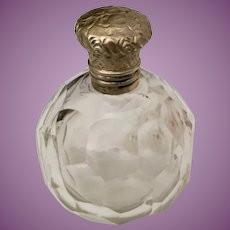 Beautiful Antique French Cut Crystal  Gilt Silver Top Perfume