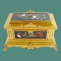 "Antique Gilt Bronze Pietra Dura Casket Hinged Box "" Five Grandest Plaques"