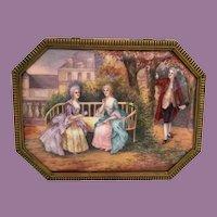 """9½""""  Limoges Casket Hinged Box ~ Nine Magnificent Enamel Plaques   ~  Stamped: FRANCE"""
