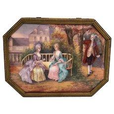 """1850     9½""""  Limoges Casket Hinged Box ~ Nine Magnificent Enamel Plaques   ~ Stamped: FRANCE"""