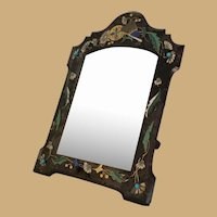 """14"""" French Enamel  Jeweled Table Top Mirror ~ Wood Back and Big Wood Easel Stand"""