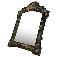 """14"""" French Enamel  Jeweled Table Top Mirror ~ Wood Back and Big Wood Easel Stand ==CLOSEOUT=="""