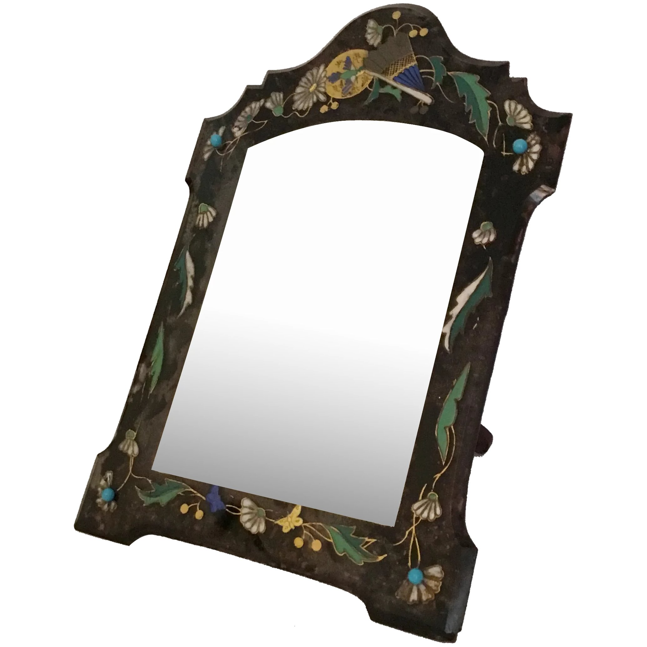 French Enamel Jeweled Table Top Mirror