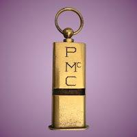 Vintage Estate Brass Whistle Pendant ~ Very Unusual Shape