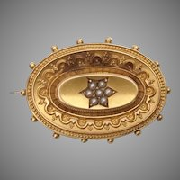 15KARAT Yellow Gold Pearl Broach Pin ~ Gorgeous Yellow Gold Brooch with 7 Tiny Seed Pearls